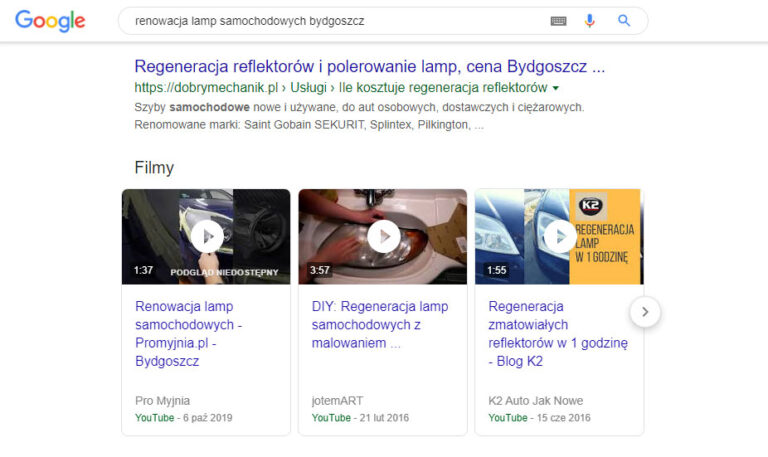 Filmy promocyjne w wyszukiwarce